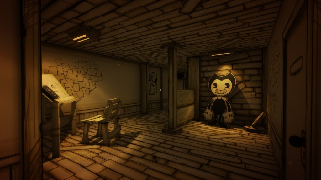 Standing in a corridor, a cardboard cutout of Bendy, the game's grinning evil character, leers at you, leaning against the wall.
