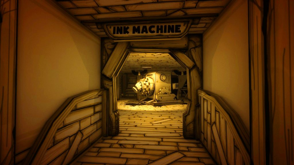 "A long corridor leads through a doorway into a small room. Standing in the middle, a large cuboid machine, with what looks like a drill attachment has the words ""Ink Machine"" written on the side."