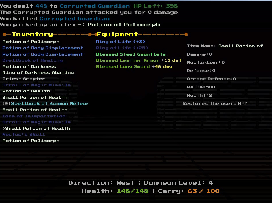 A text-based inventory screen