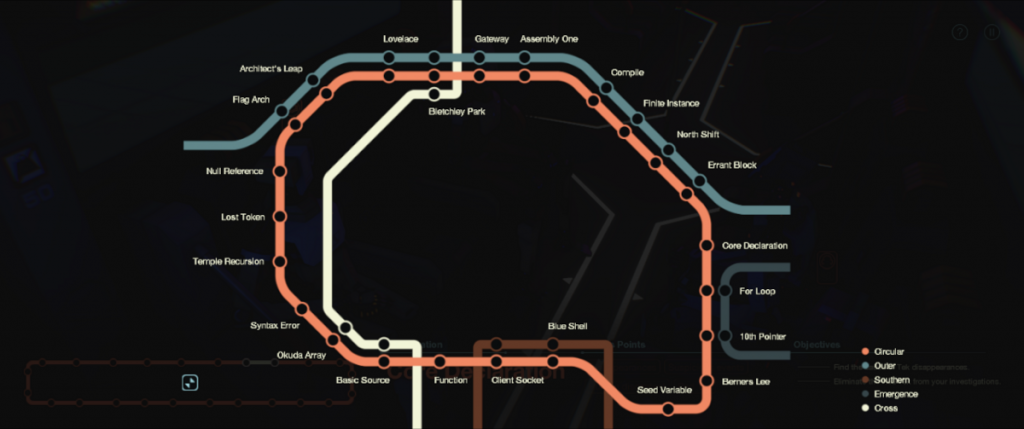 A circular subway map.