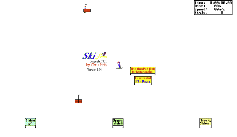 A screenshot of an old game, Ski-Free